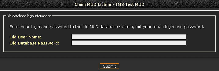 MUD Claim Screen