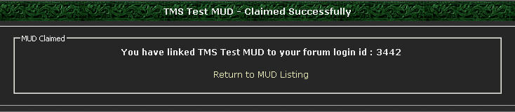 MUD Claimed Screen